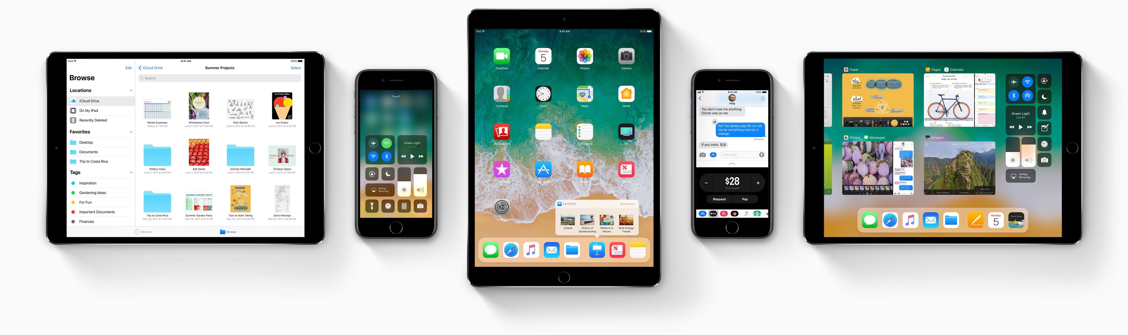 iOS 11 beta em iPads Pro e iPhones 7 de frente