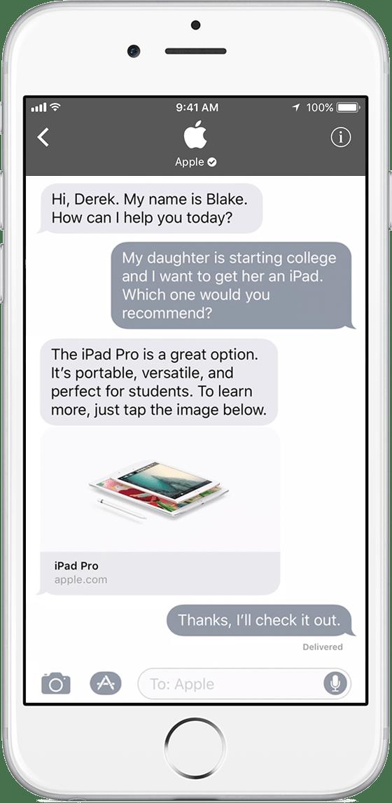 Business Chat no Mensagens do iOS 11