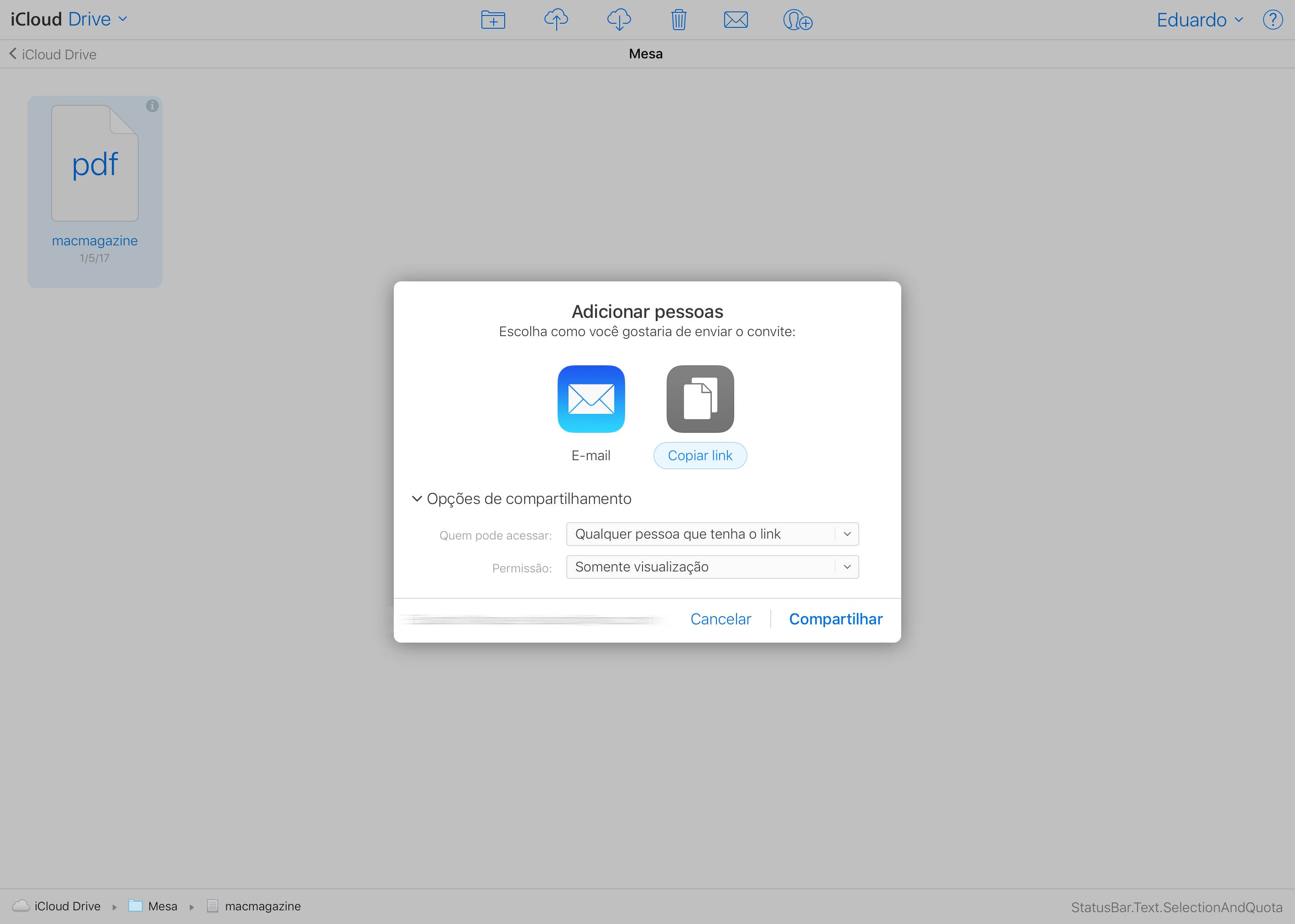Compartilhando um arquivo no iCloud Drive
