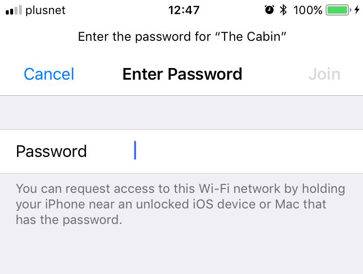 Tela de compartilhamento do WiFi no iOS 11