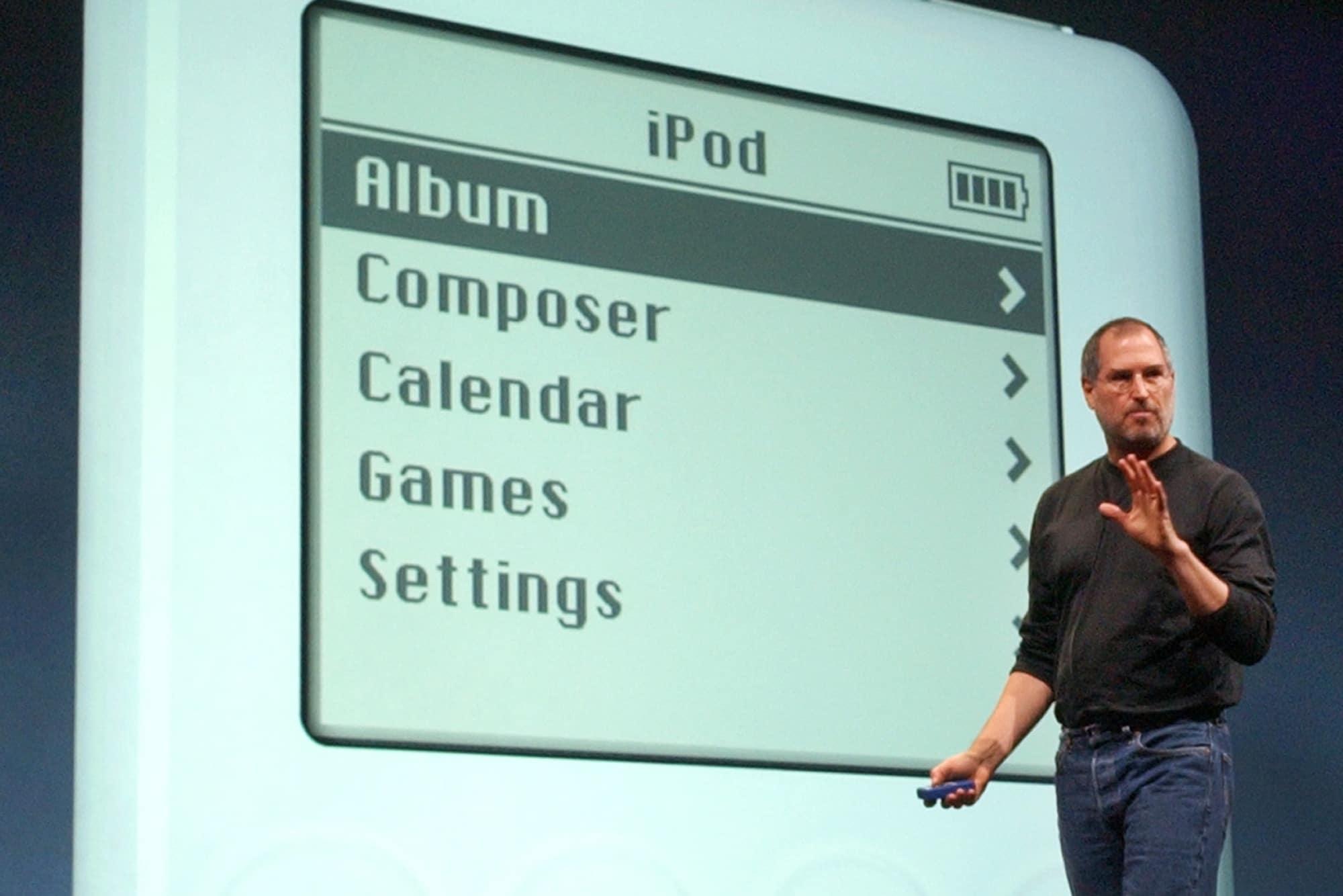 Steve Jobs em evento da Apple, falando sobre o iPod