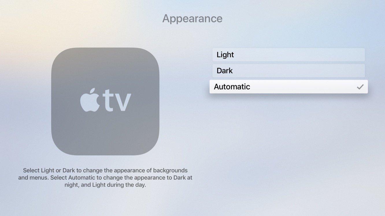 Troca entre temas claro e escuro no tvOS 11 beta