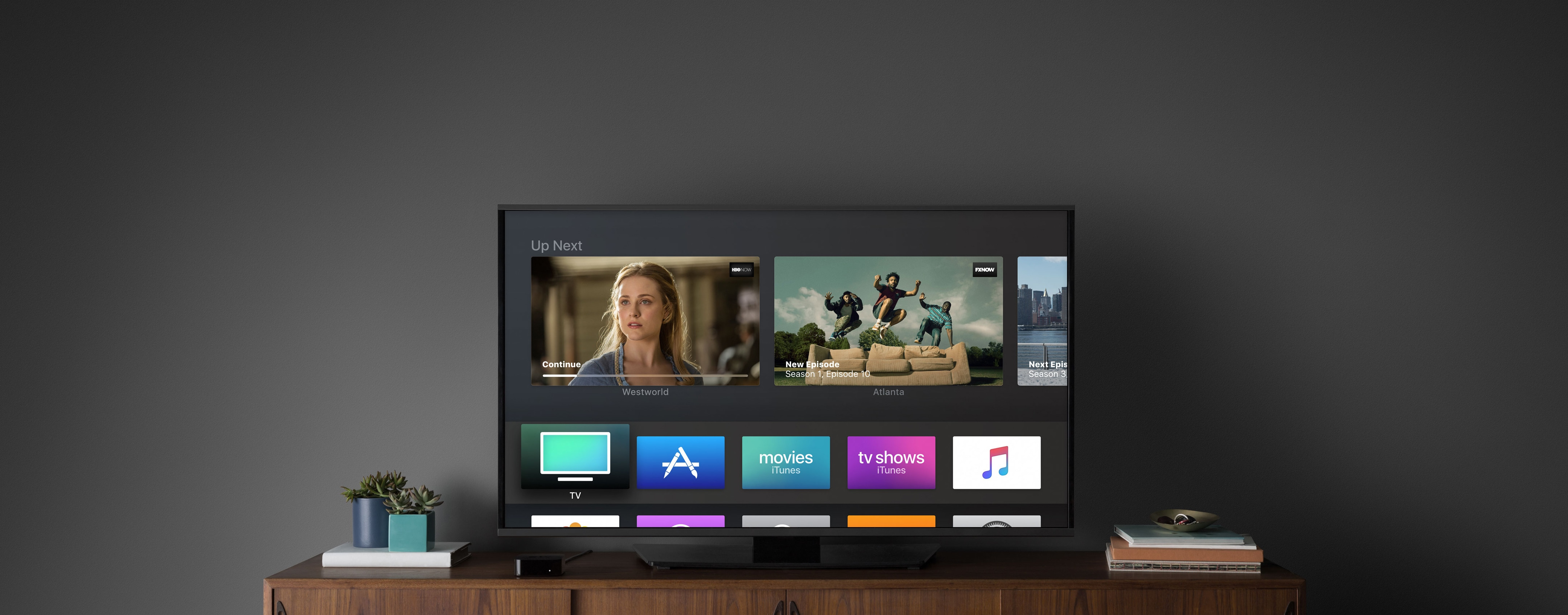 Apple TV com tvOS numa sala