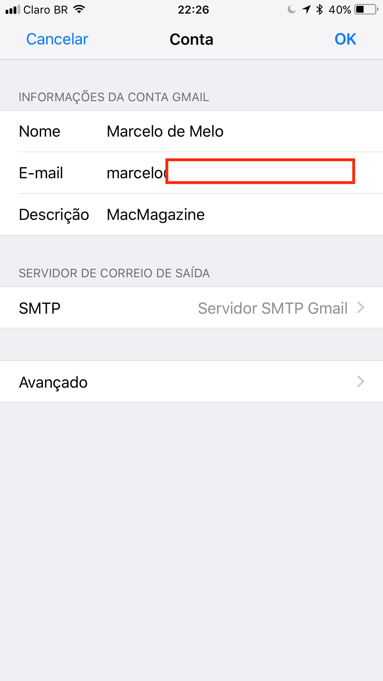 Mail - Configurações