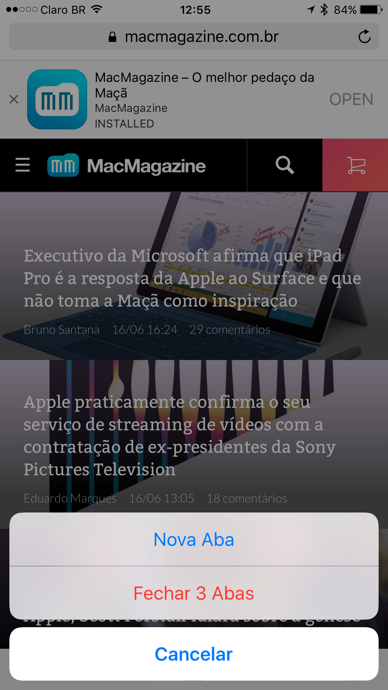 Trabalhando com abas no Safari do iOS