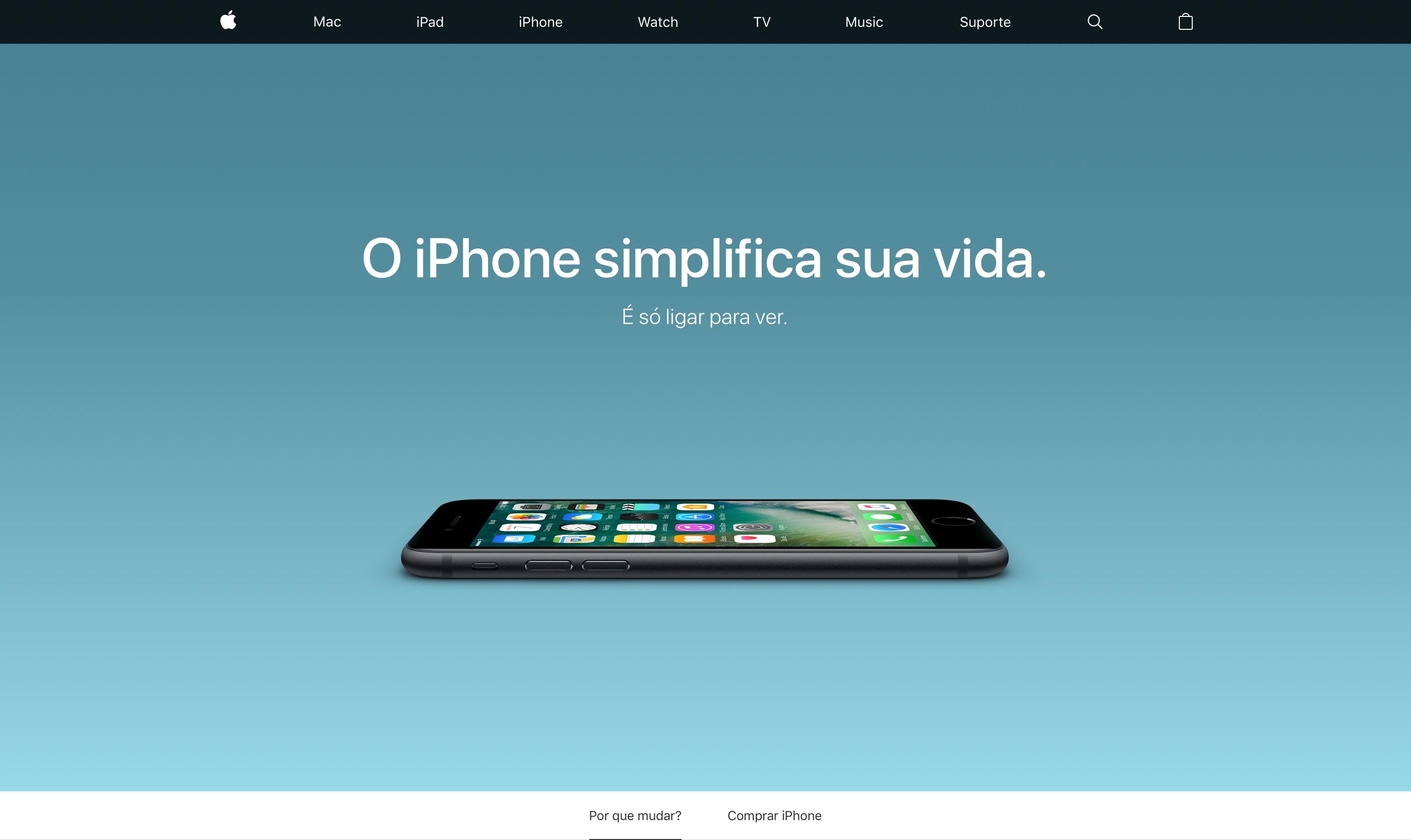 """Página da Apple explicando """"Por que mudar do Android para o iPhone"""""""