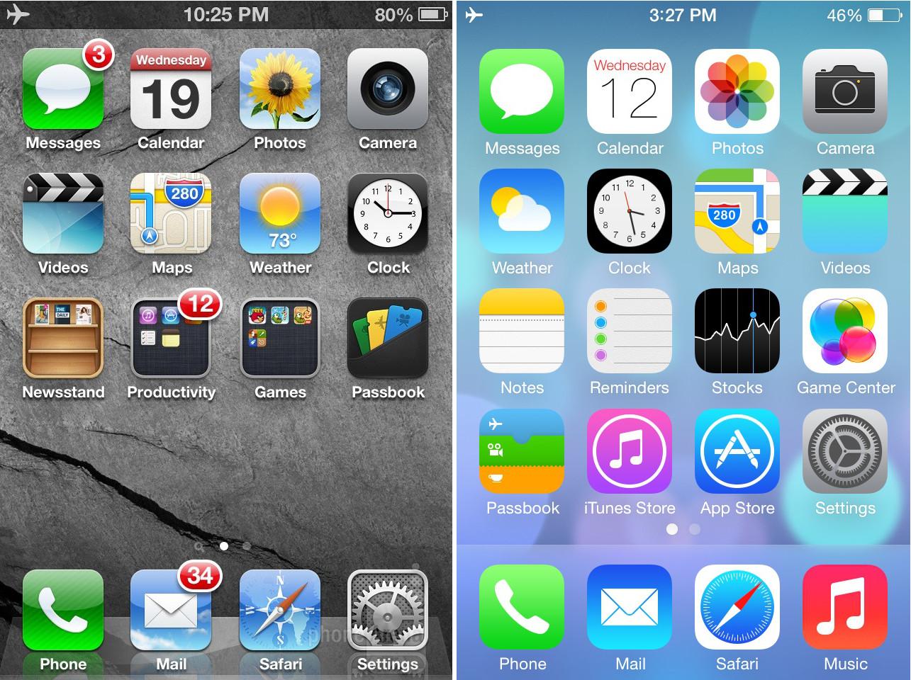Comparação entre iOS 6 e iOS 7
