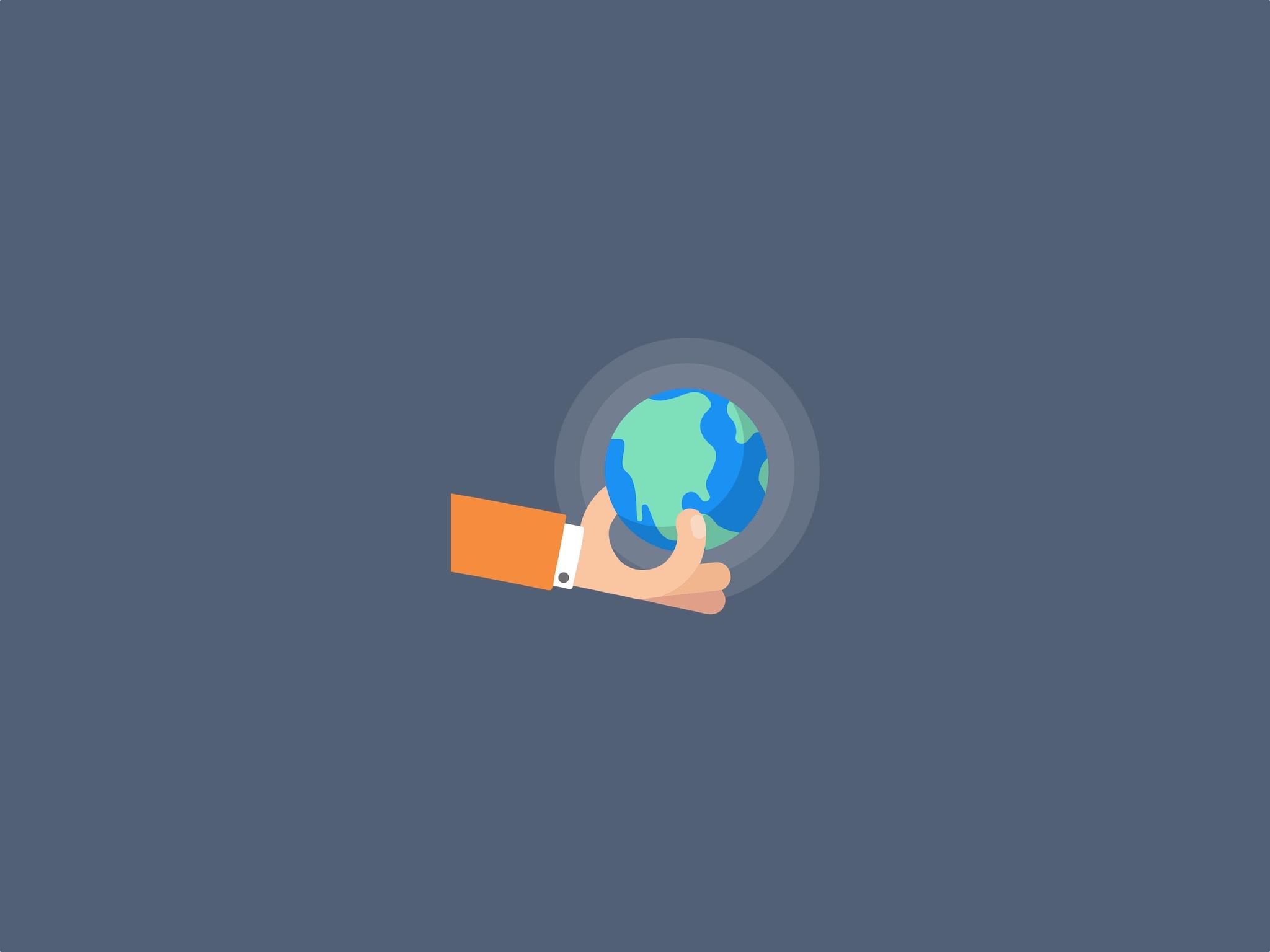 Mão segurando o mundo - Quaddro