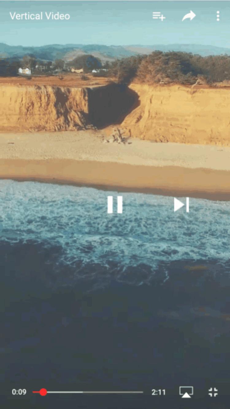 Reproduzindo vídeos na vertical no YouTube