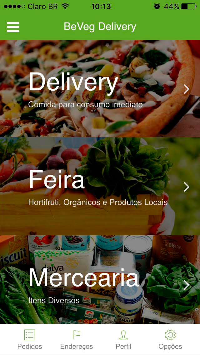 Aplicativo BeVeg Delivery para iPhone