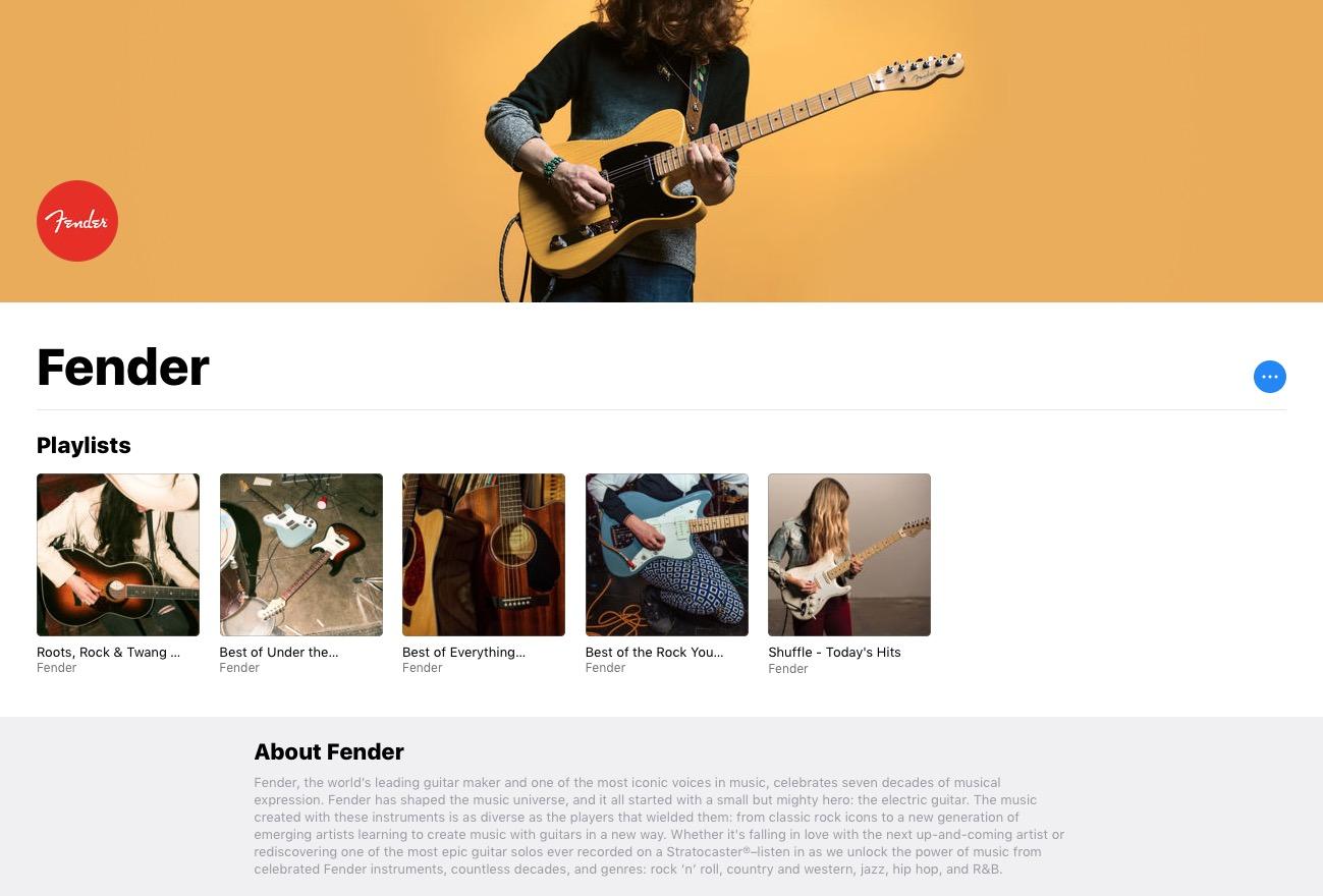 Playlists da Fender no Apple Music