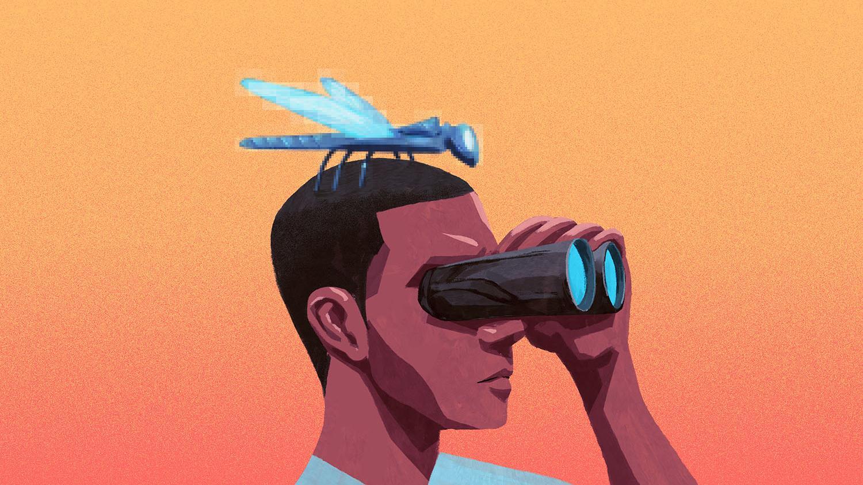 Ilustração mostrando um inseto na cabeça de uma pessoa olhando por um binóculo