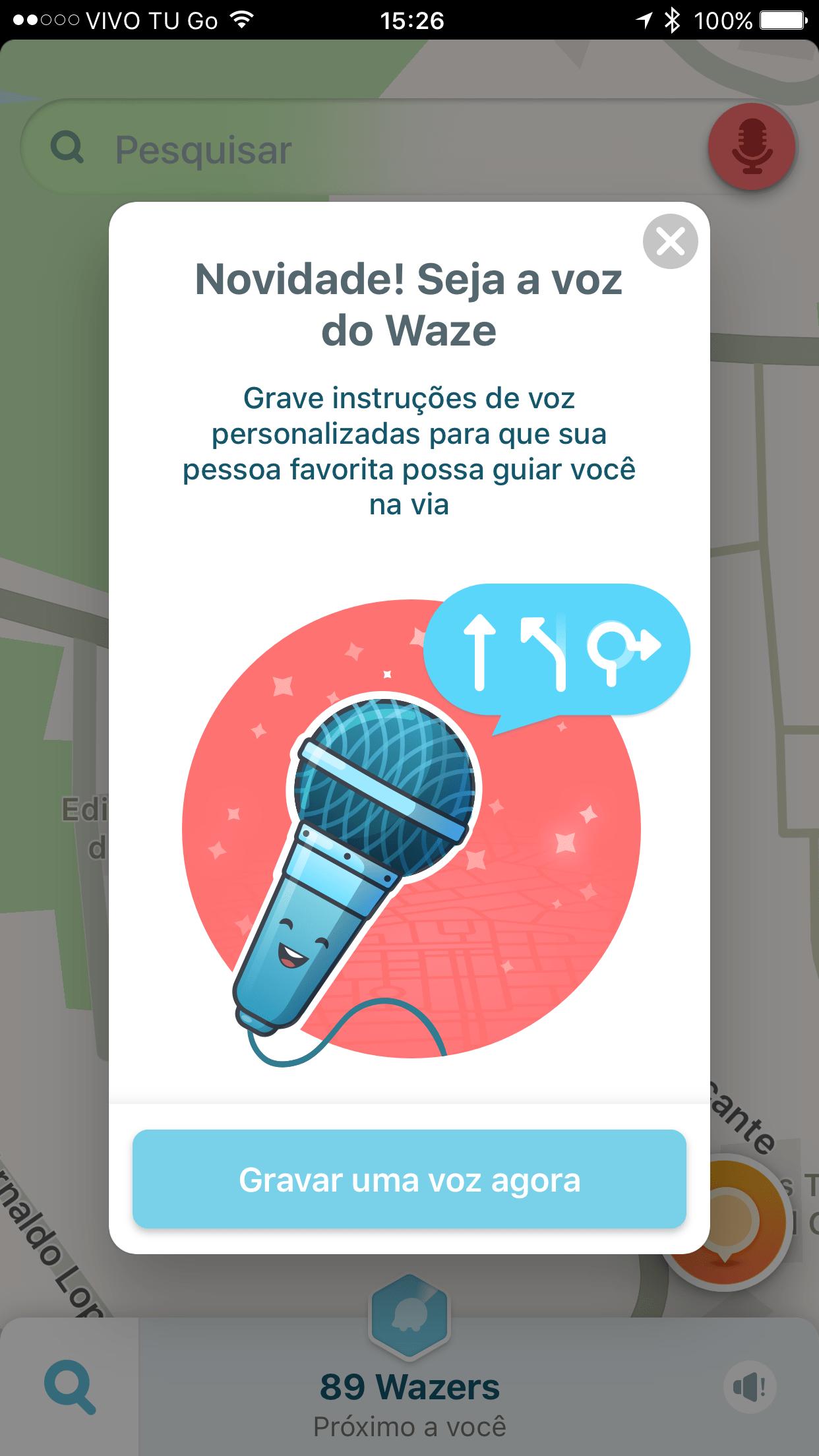 Gravando a própria voz no Waze para iOS