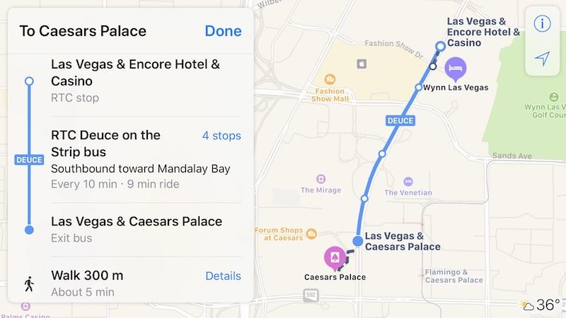 Apple Mapas transporte Las vegas