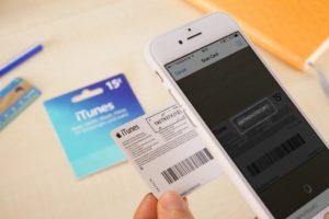 Escaneando um iTunes Gift Card