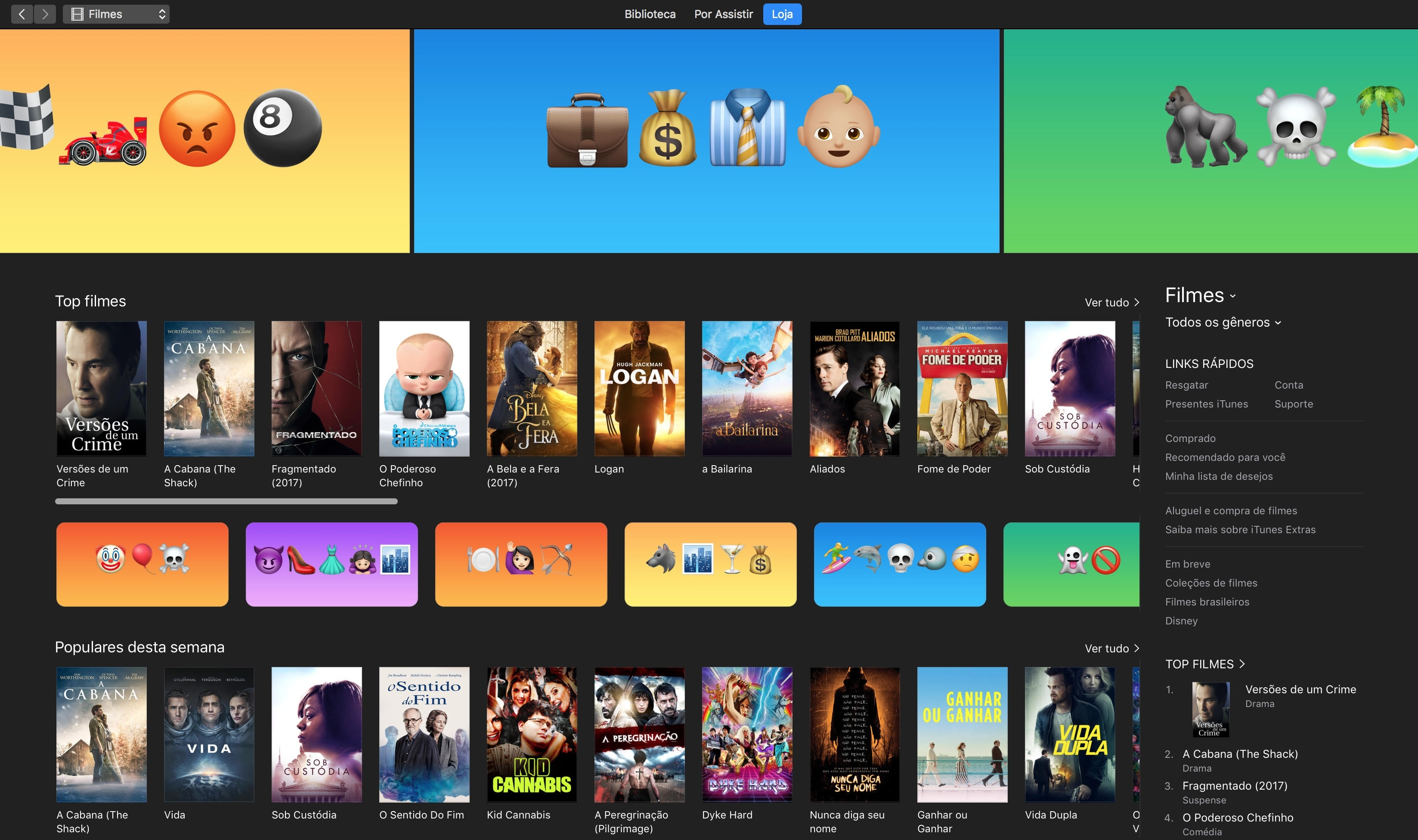 Emojis destacando os filmes da iTunes [Movie] Store