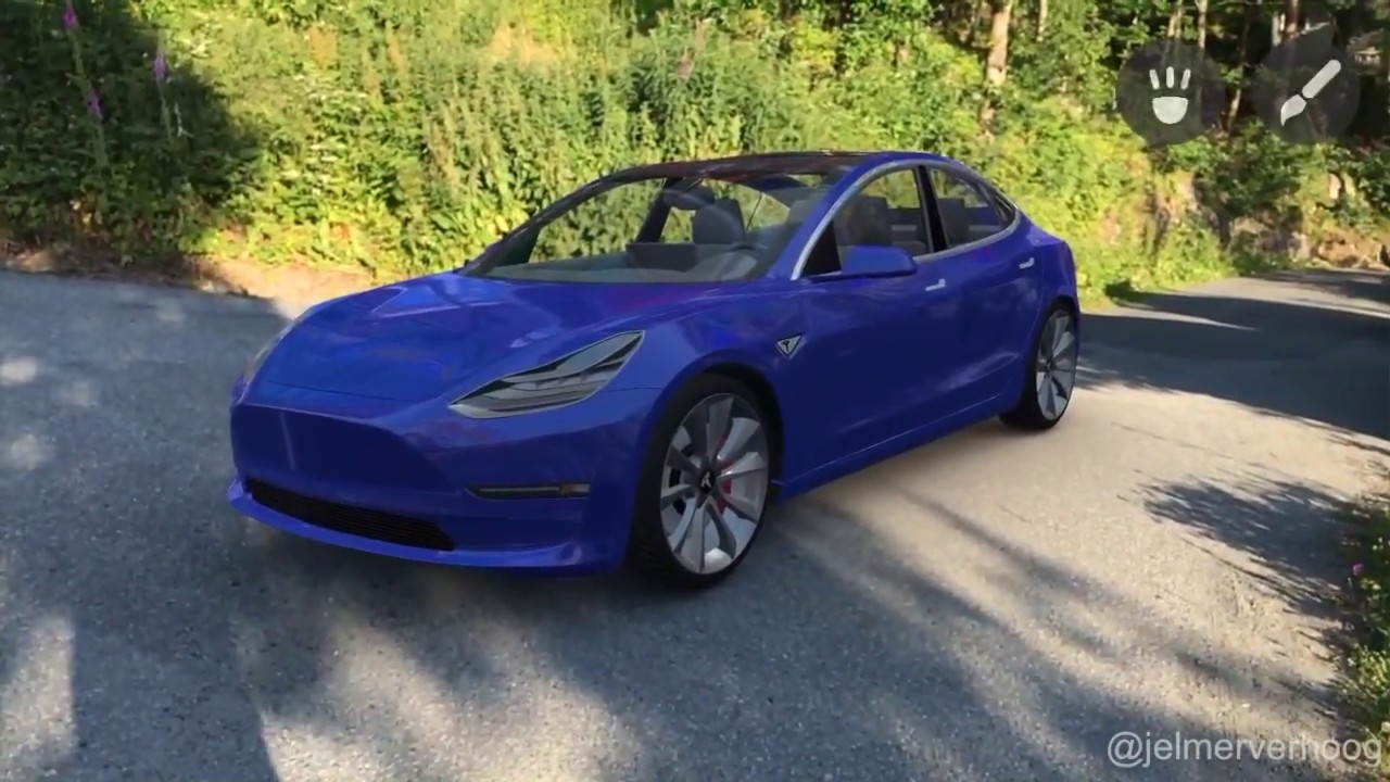 Carro Tesla em realidade aumentada
