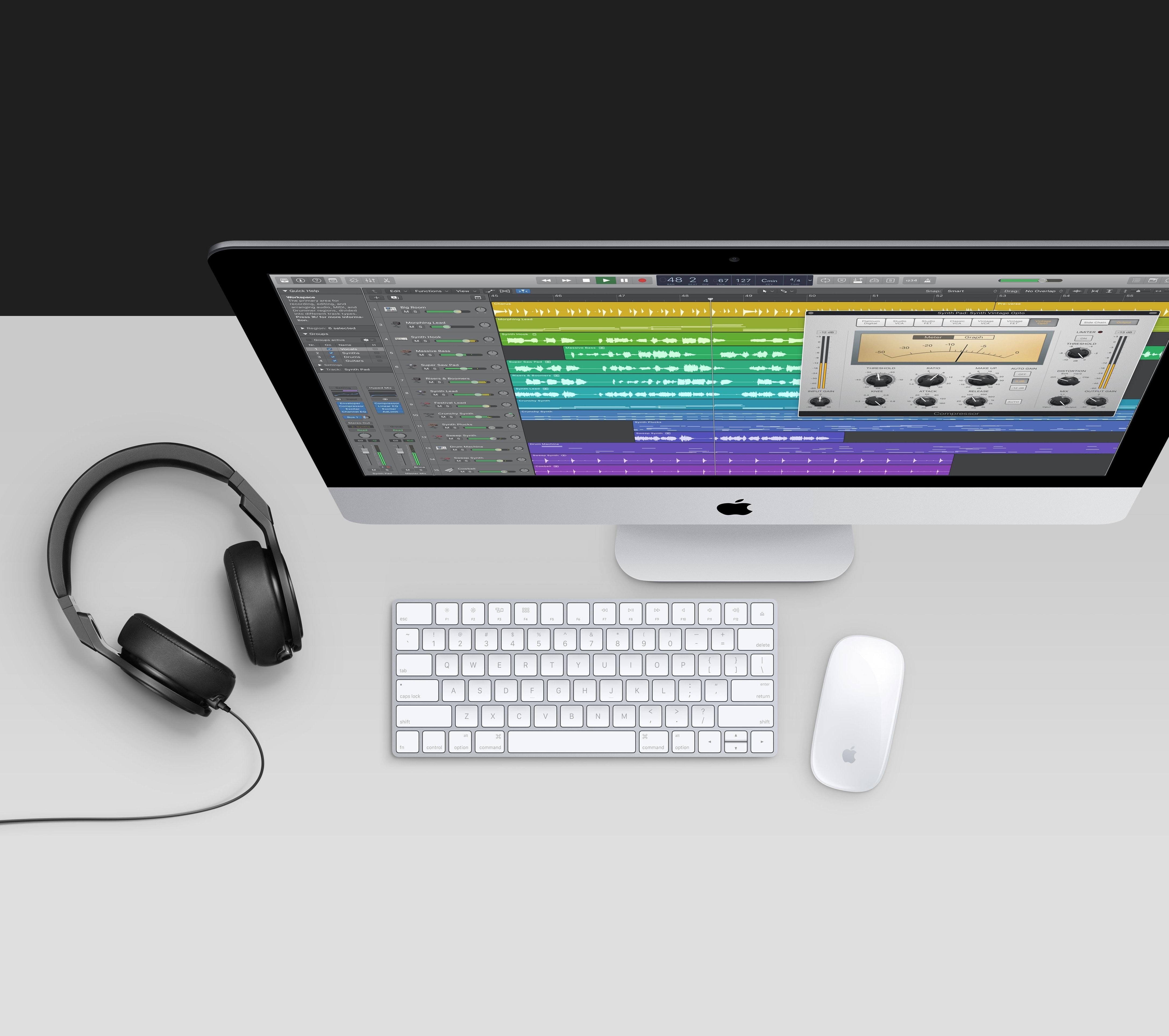 Logic Pro X rodando em um iMac
