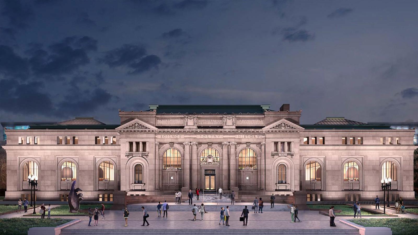 Modelo da futura loja da Apple na Carnegie Library, em Washington