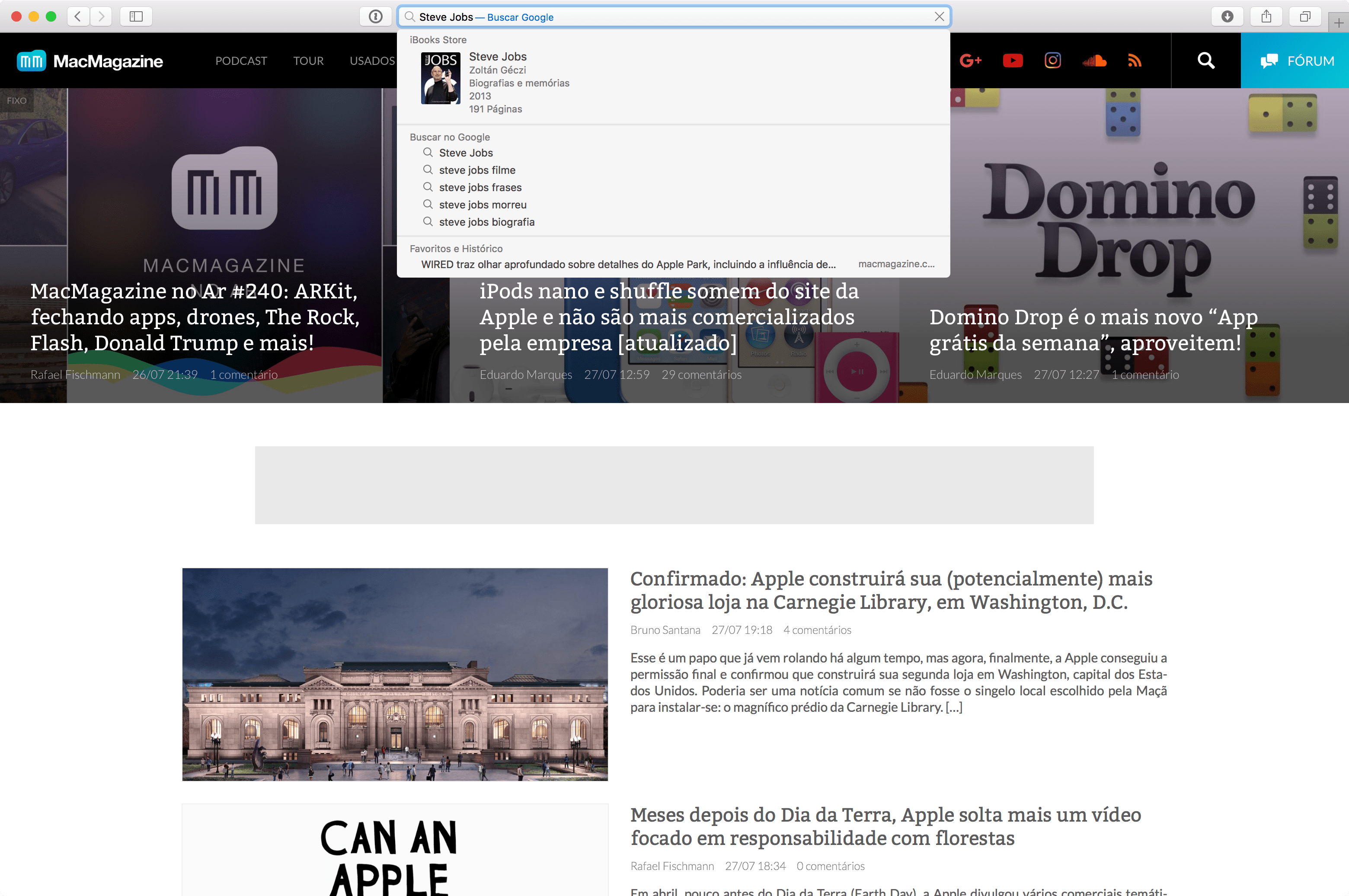 Busca do Spotlight rodando no macOS