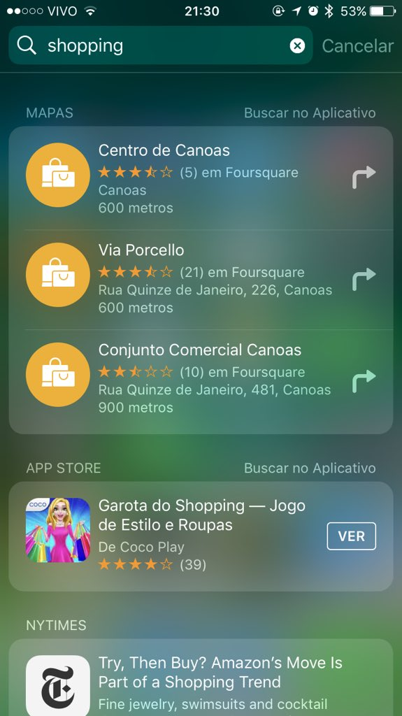 Busca do Spotlight rodando no iOS