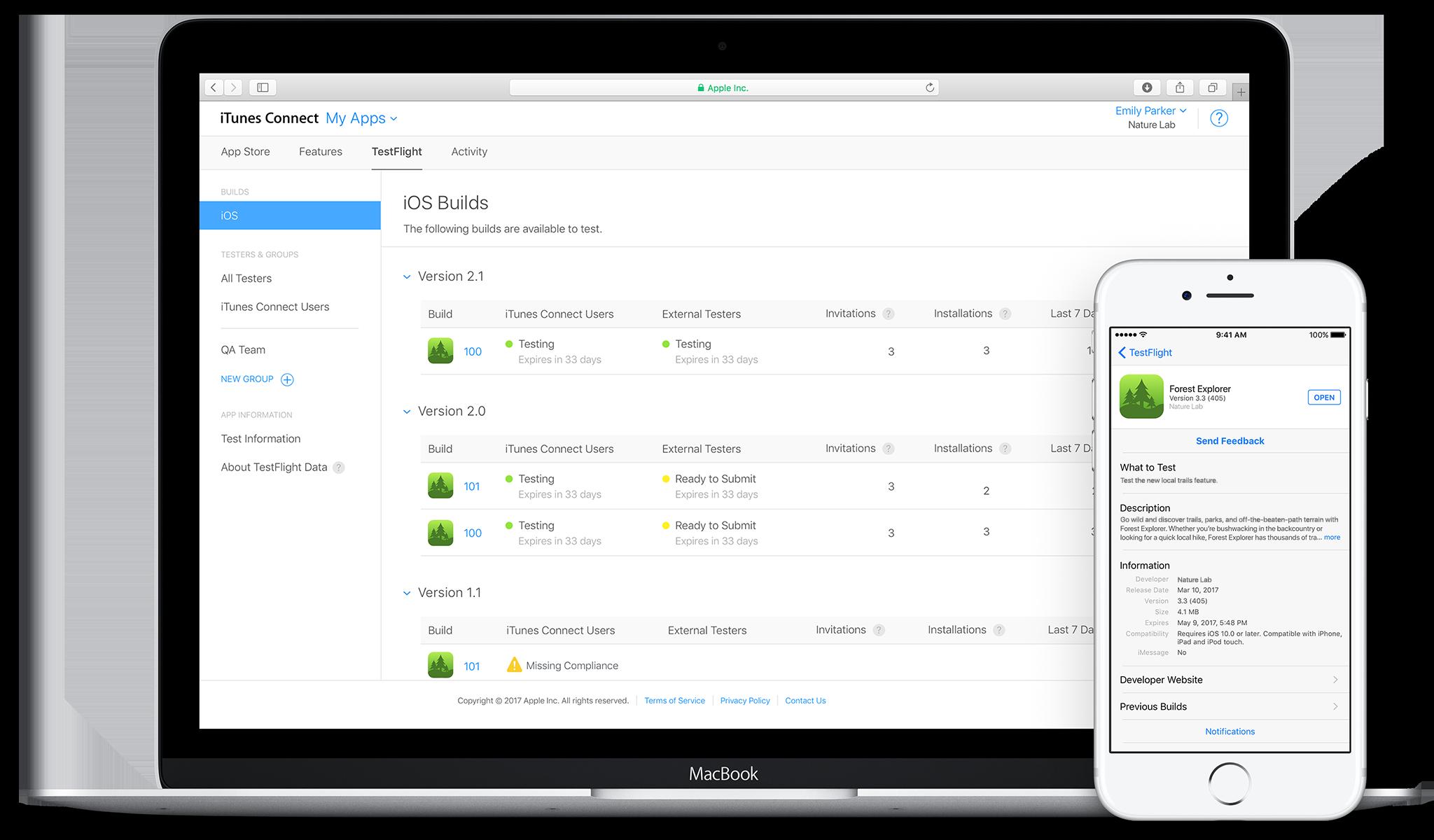 TestFlight no Mac e no iPhone