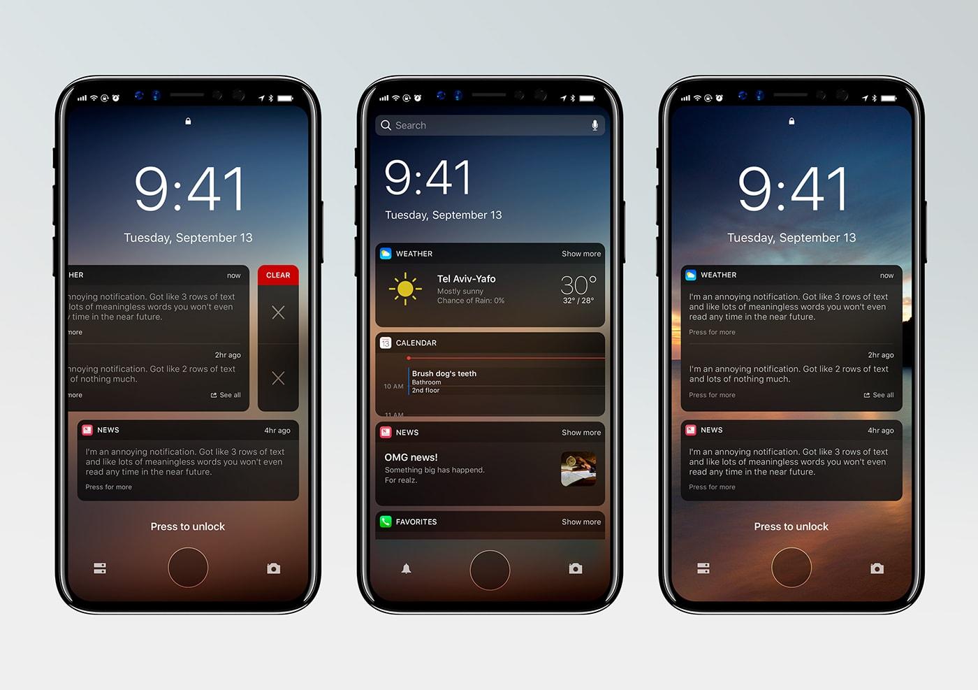 "Conceito do iOS 12 num ""iPhone 8"""