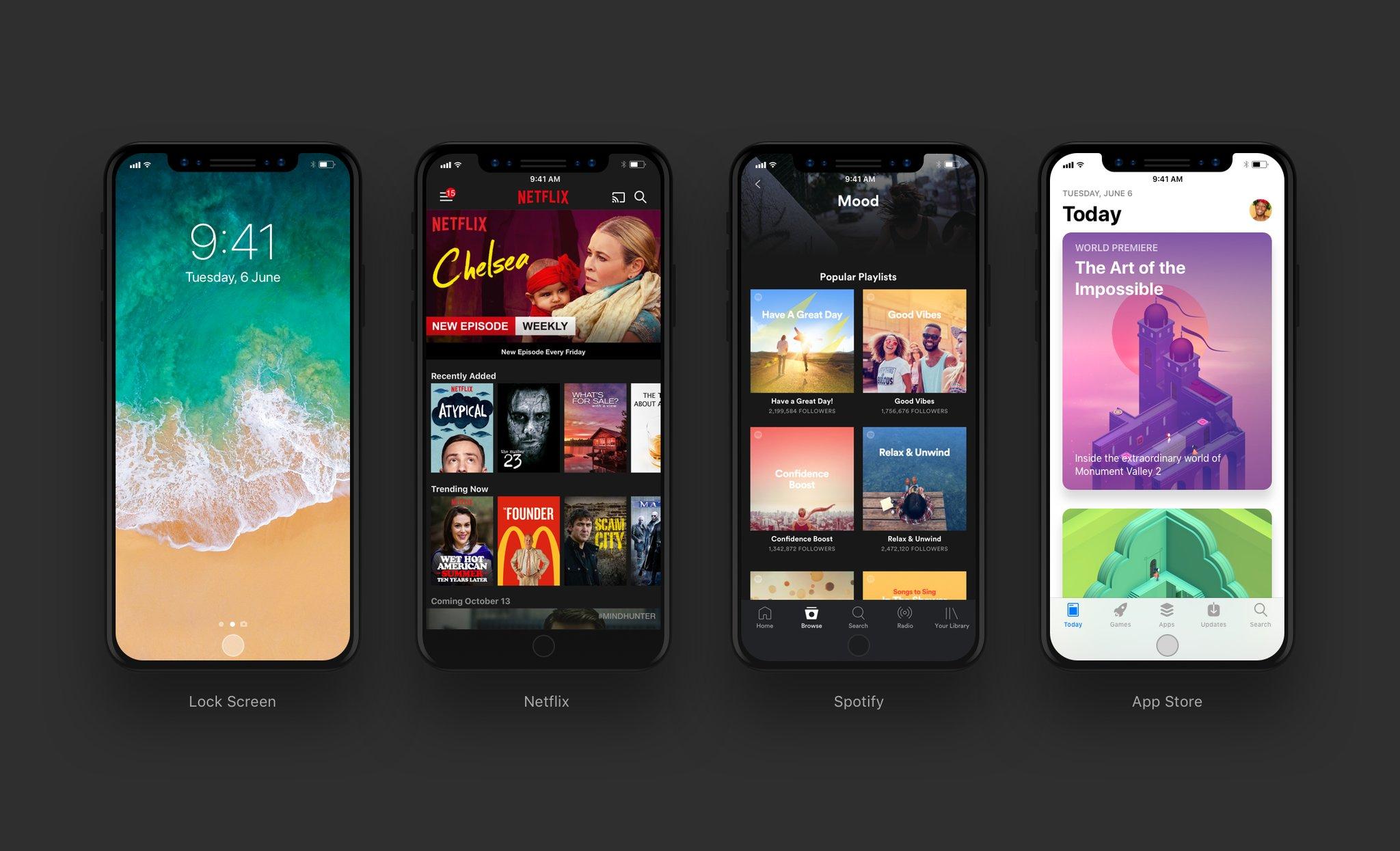"""Novo Mockup da interface do """"iPhone 8"""""""