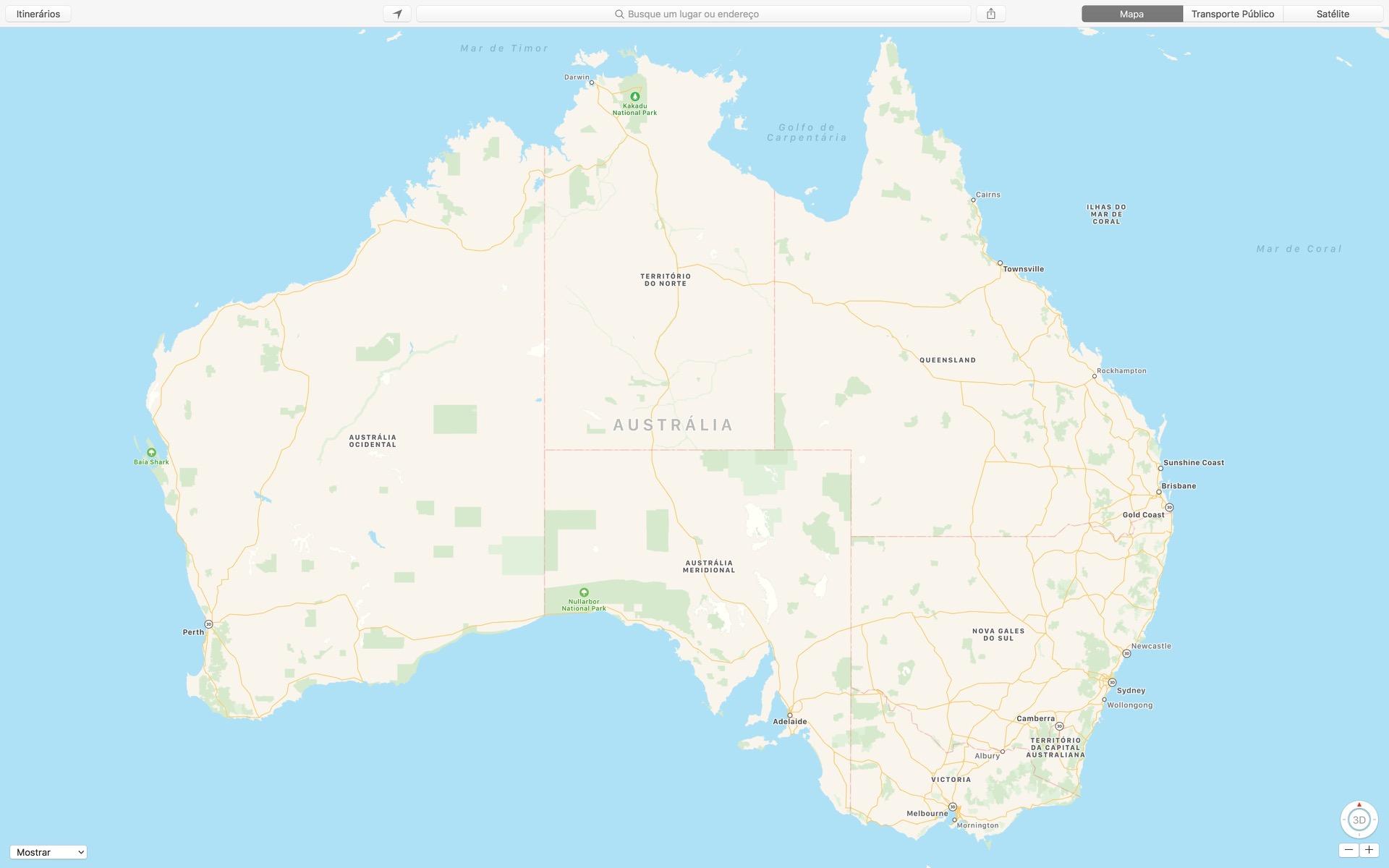 Austrália nos mapas da Apple