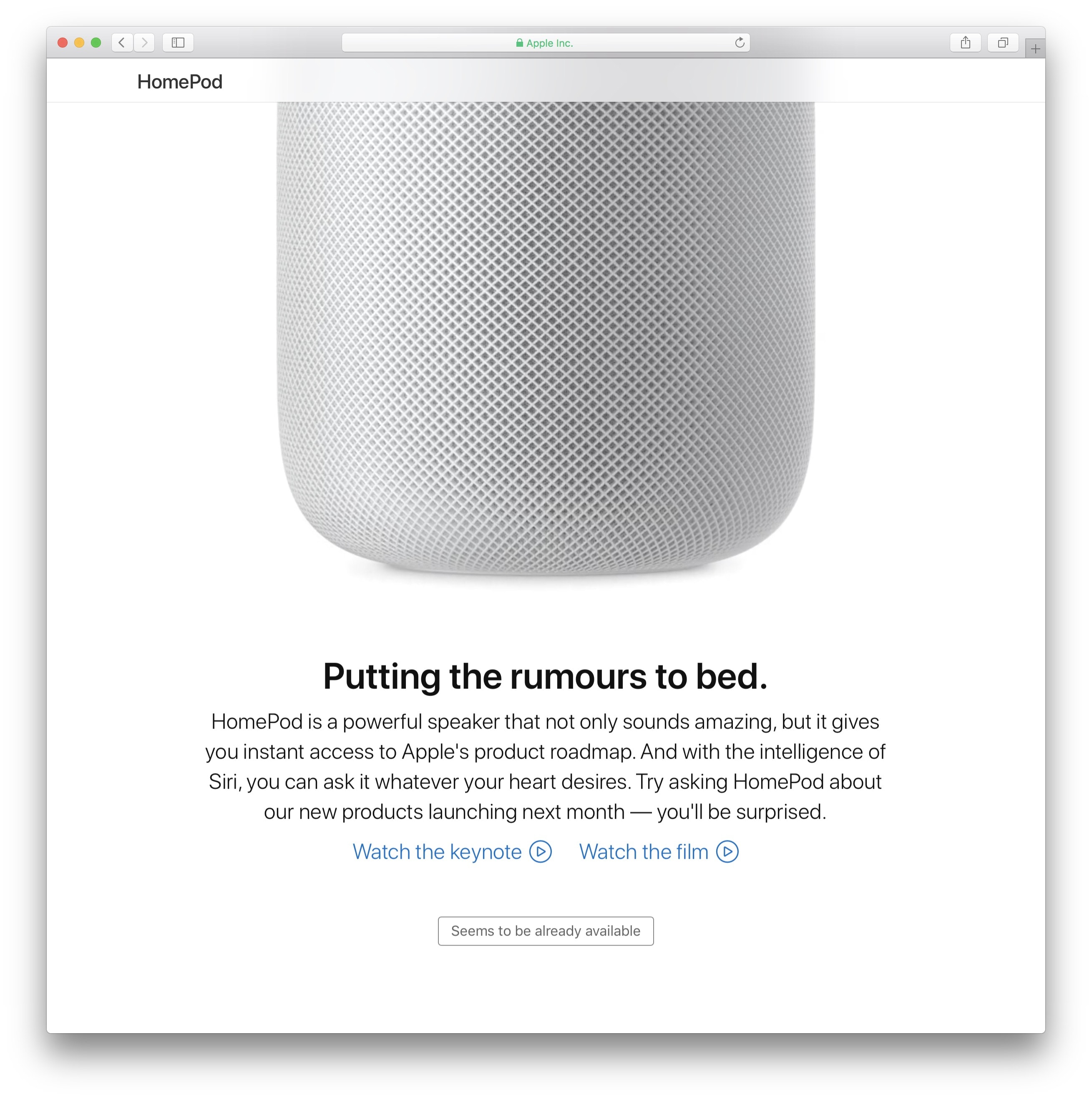 HomePod delatando os planos da Apple