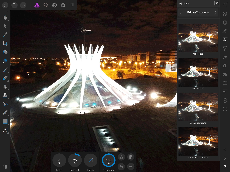 Filtros do app Affinity Photo para iPad