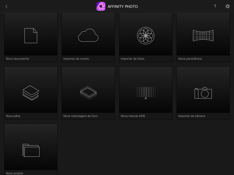 Seletor do app Affinity Photo para iPad