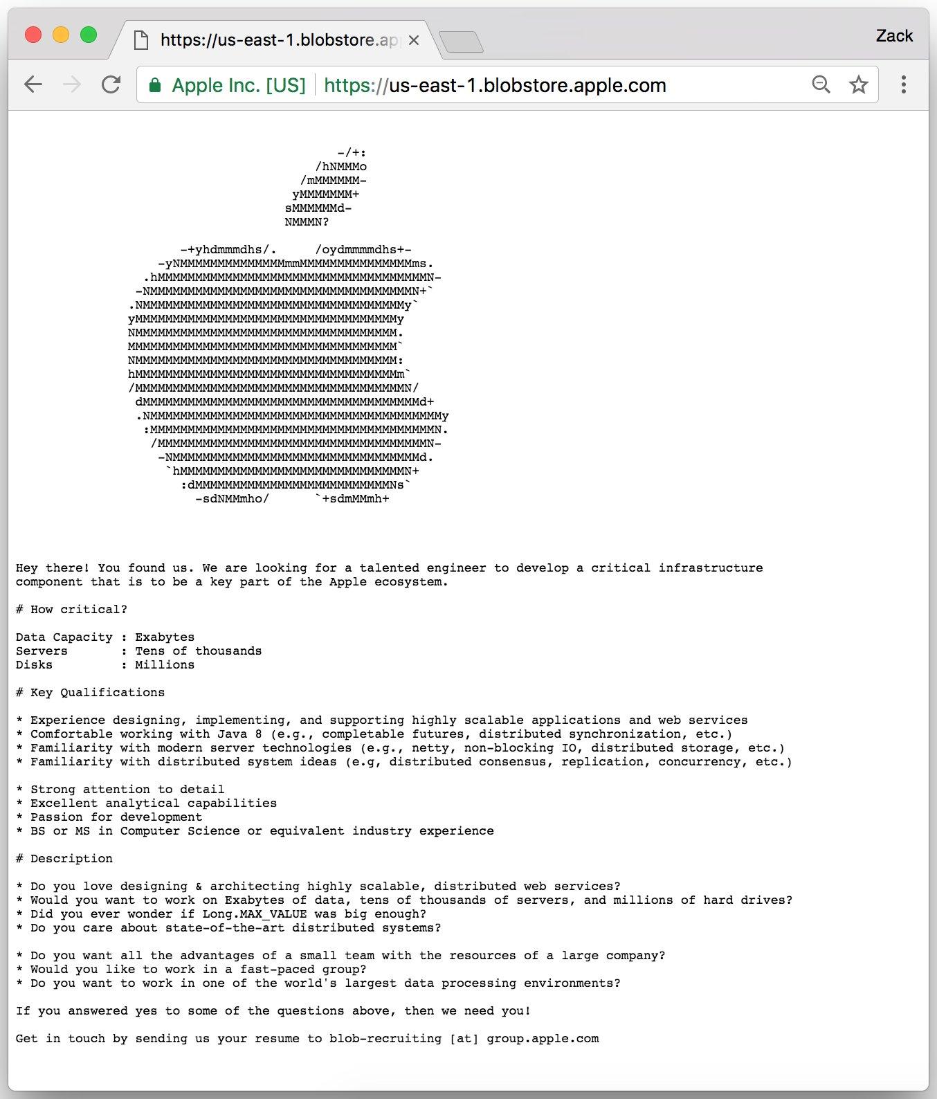 Vaga de engenheiro na Apple