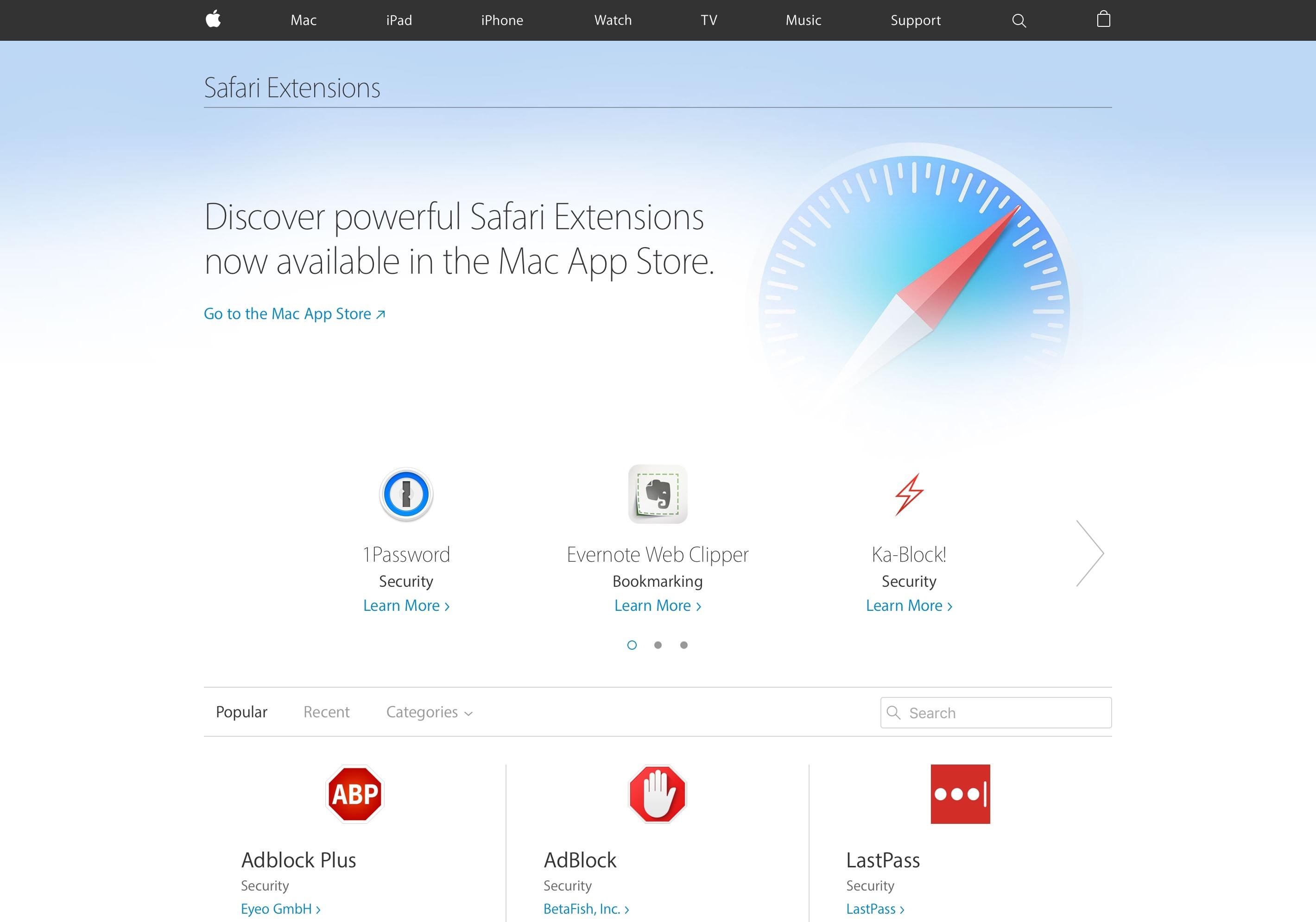 Extensões do Safari na web