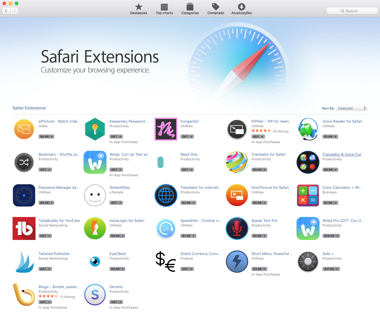 Extensões do Safari na Mac App Store