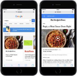 Página otimizada do Google AMP num iPhone