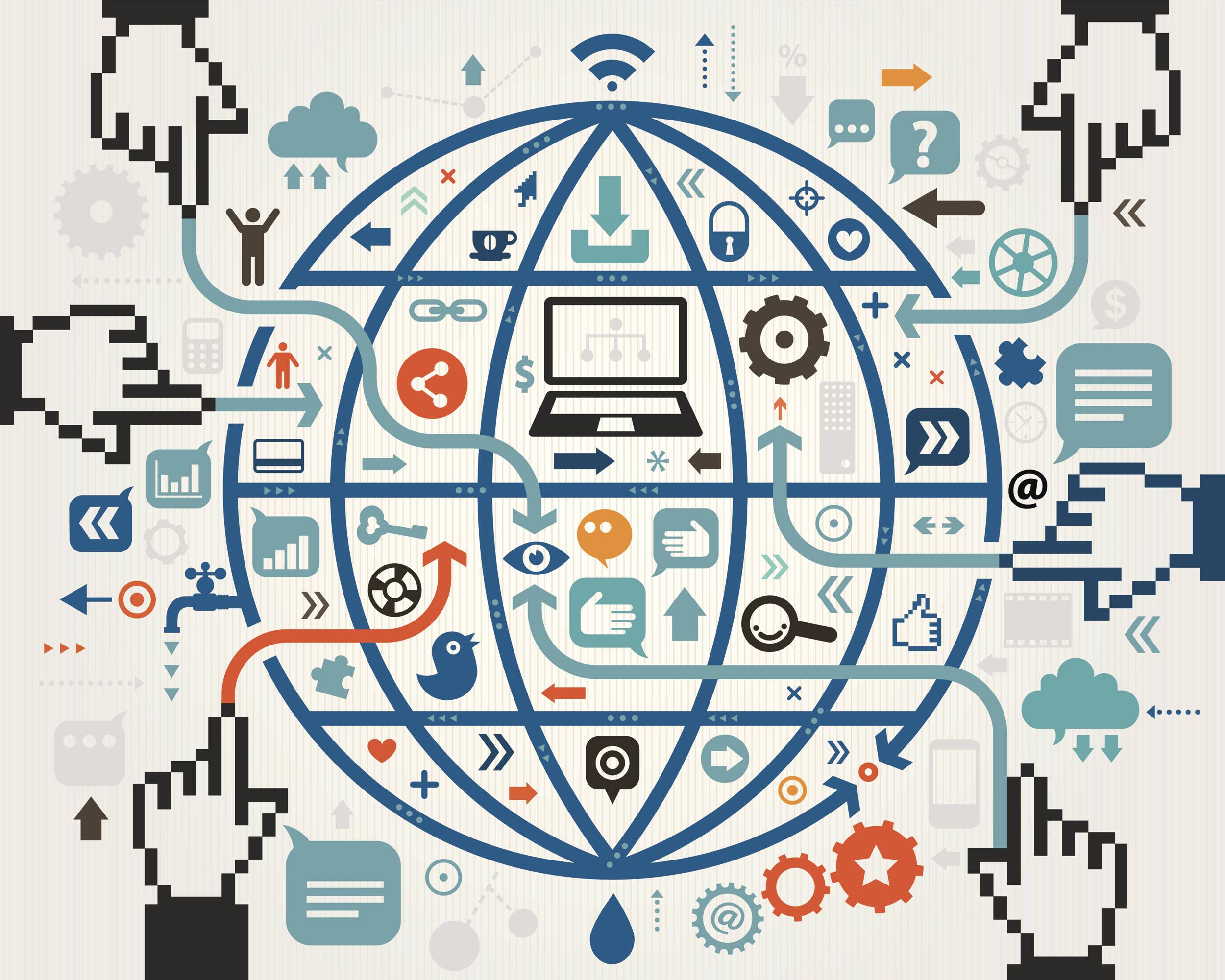 Ilustração sobre a internet e neutralidade da rede