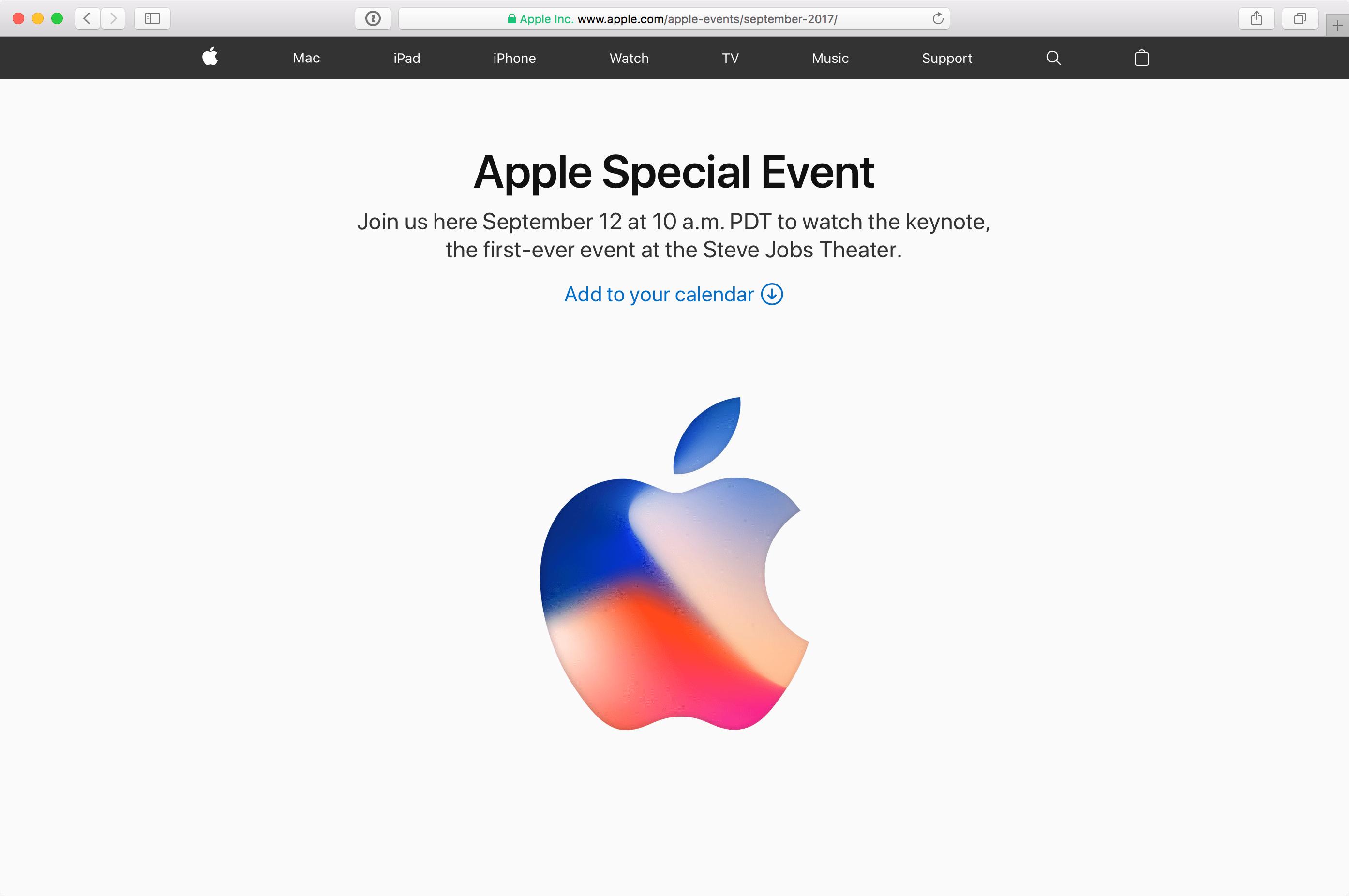 Transmissão ao vivo pelo site da Apple
