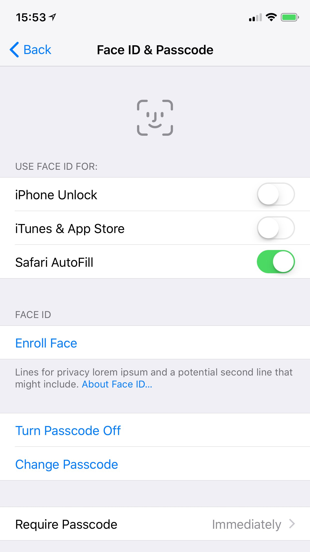 Tela de Ajustes do Face ID no iOS 11 GM