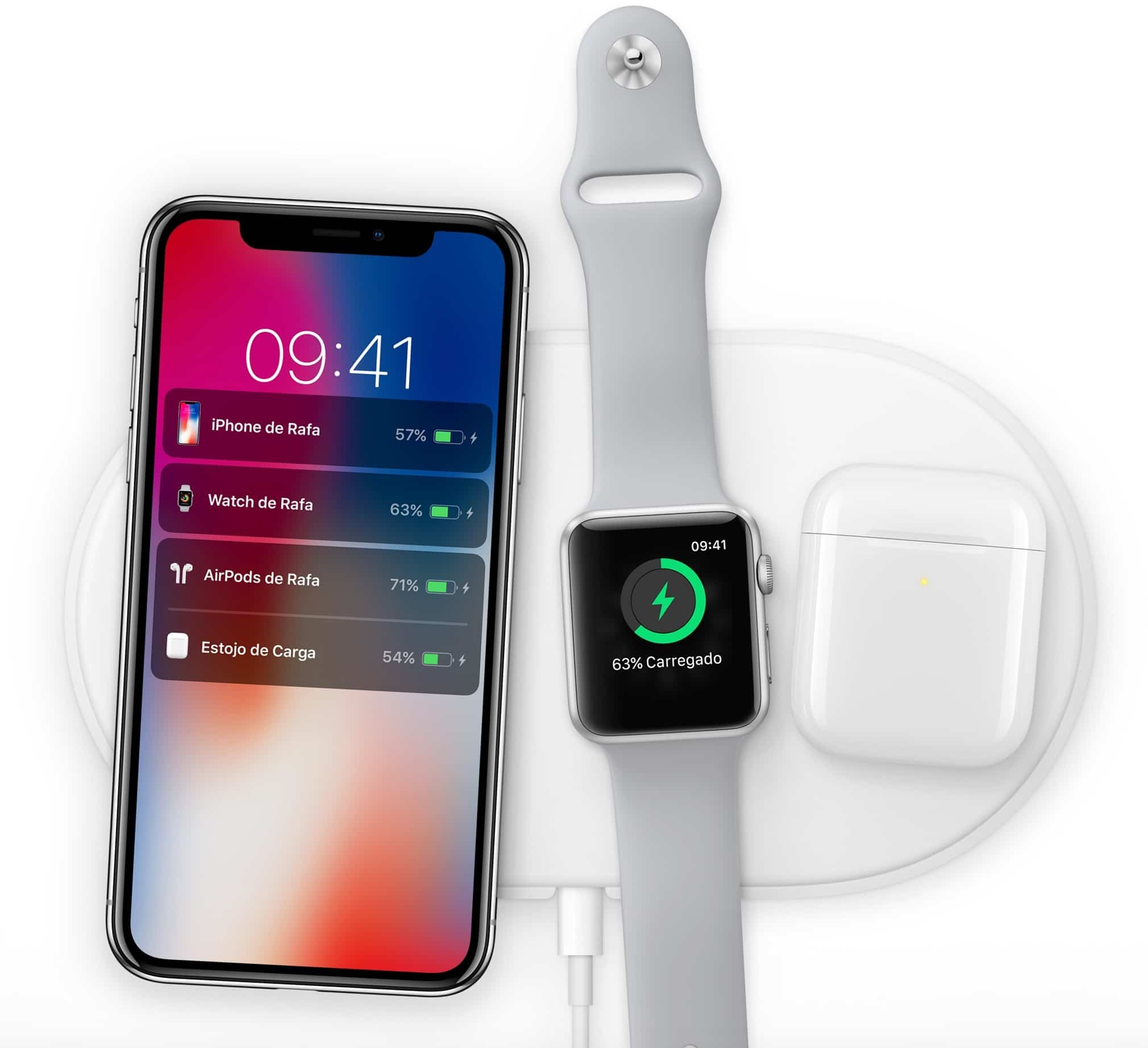 Base de recarga AirPower com iPhone X Plus, o Apple Watch Series 3 e o AirPods