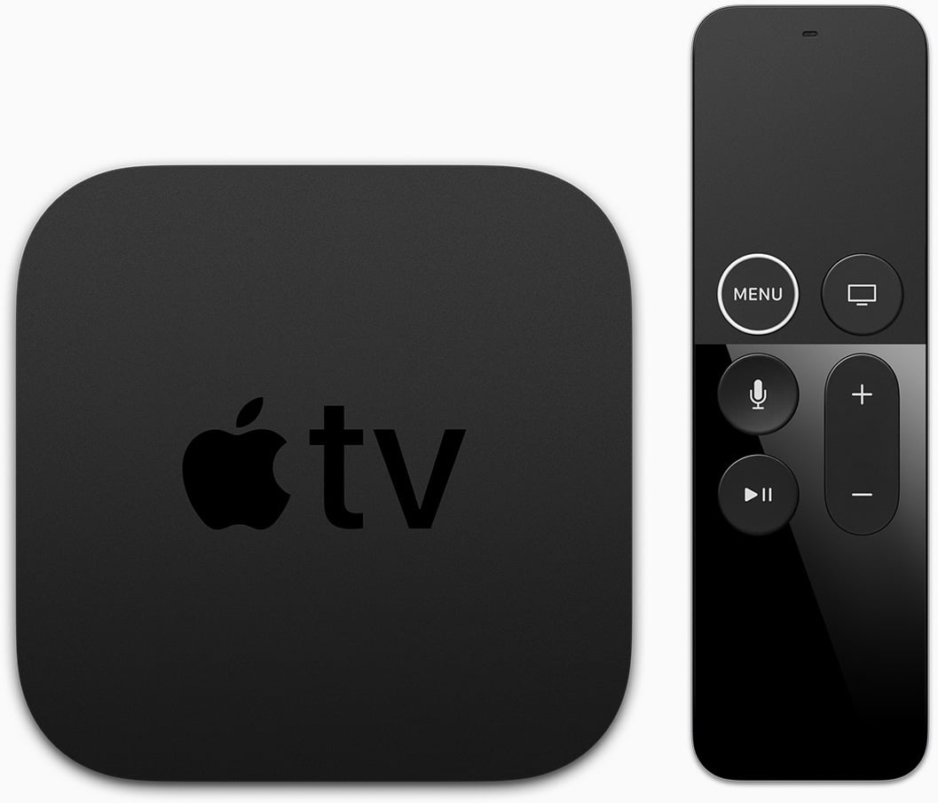 Apple TV 4K e Siri Remote de frente