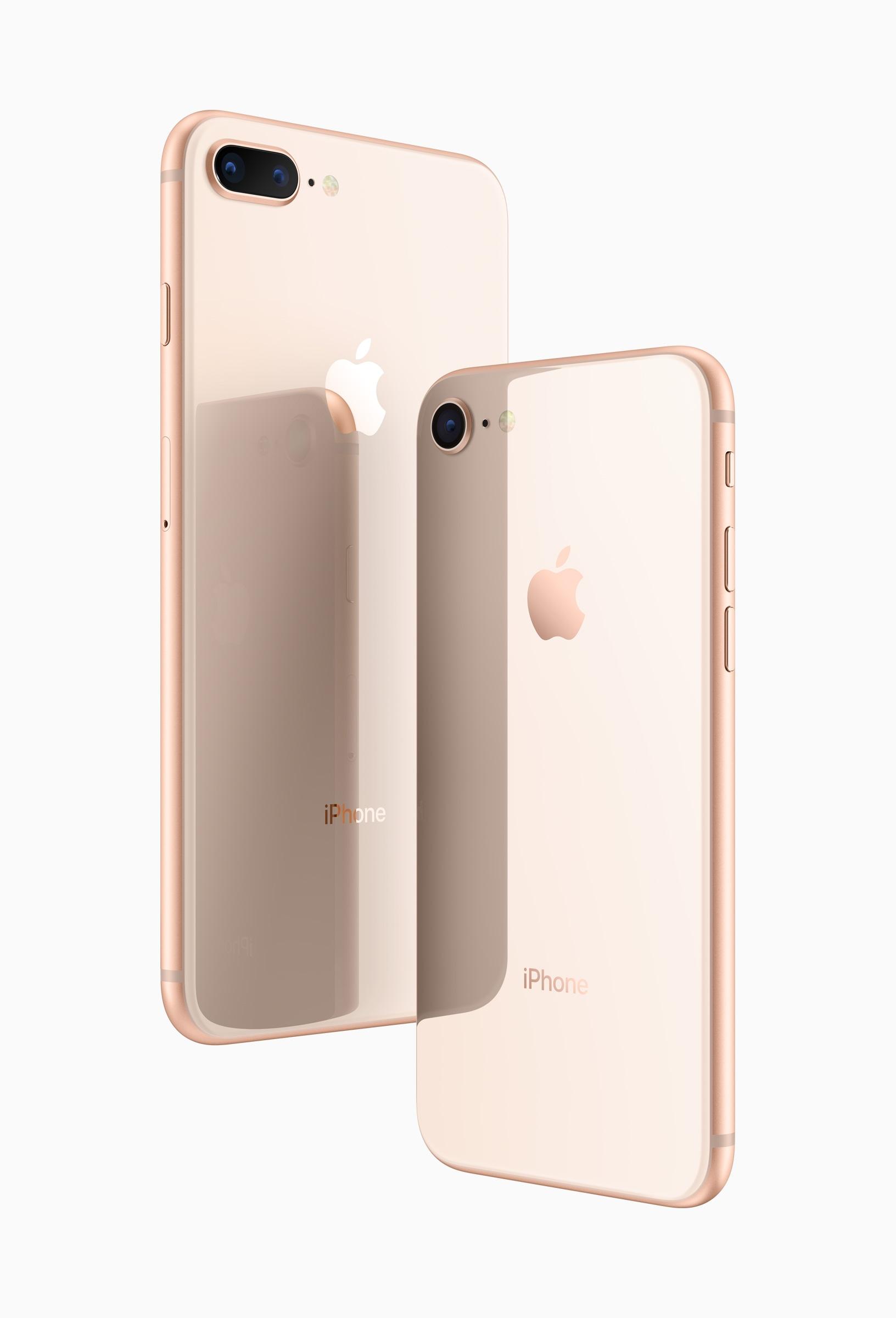iPhone 8 e iPhone 8 Plus de trás na cor dourada