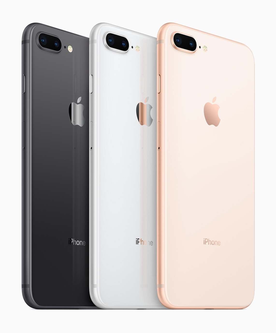 Todas as cores dos iPhones 8 Plus de trás na diagonal