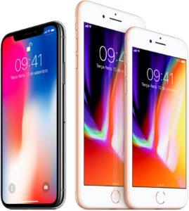 iPhones X, 8 Plus e 8