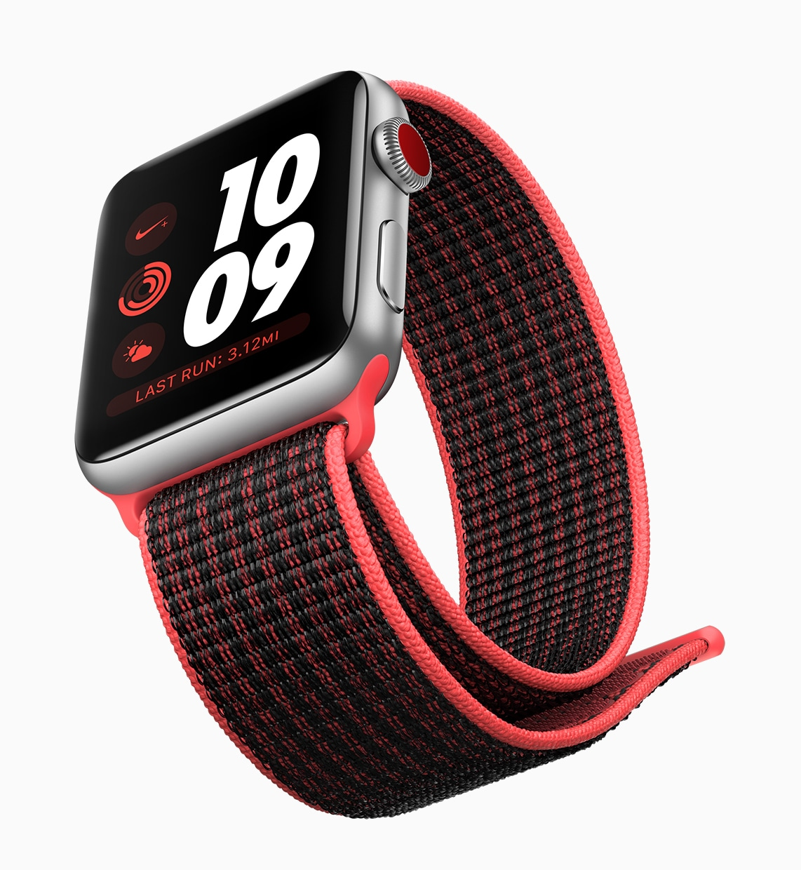 Apple Watch Series 3 com pulseira esportiva vermelha