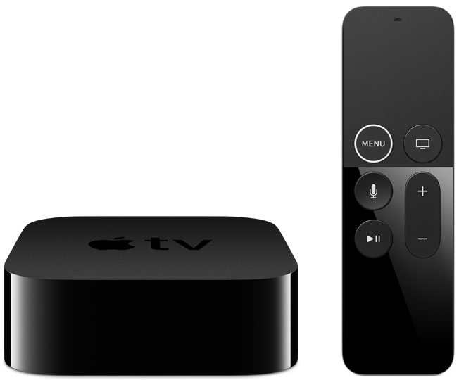 Apple TV 4K de frente com o Siri Remote ao lado