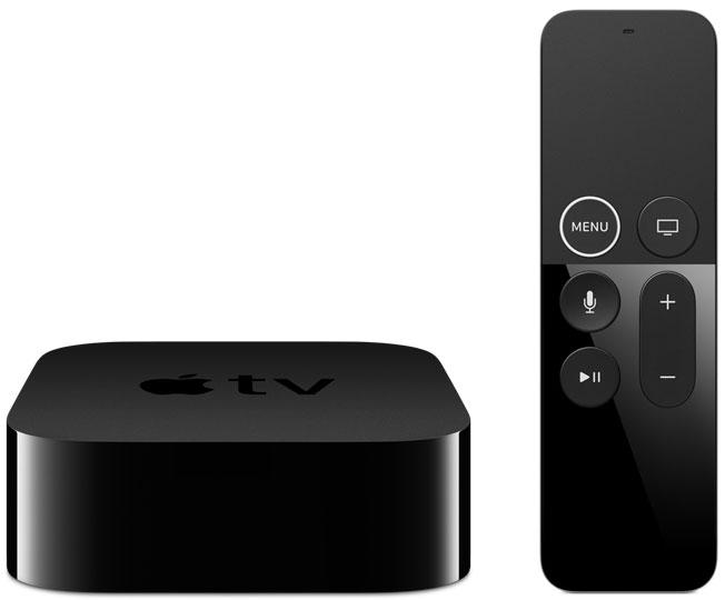 Apple TV 4K de frente com o Siri Remote ao lado