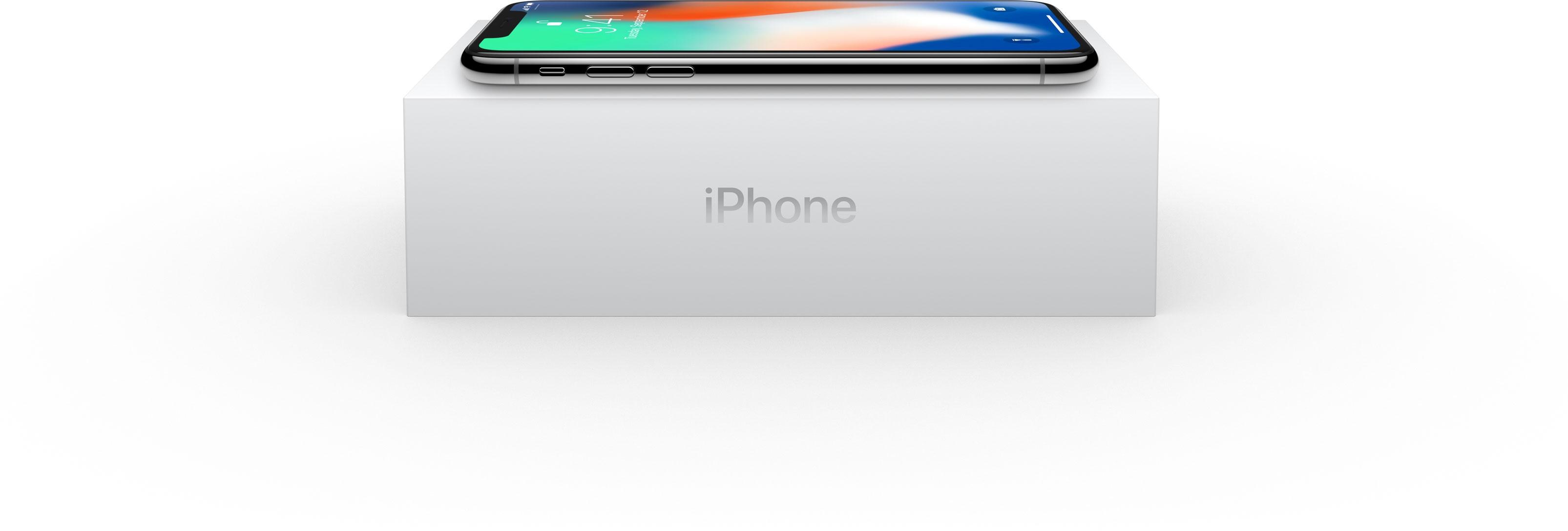 iPhone X sobre a sua caixa