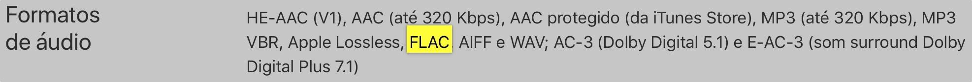 Suporte a arquivos FLAC na Apple TV 4K