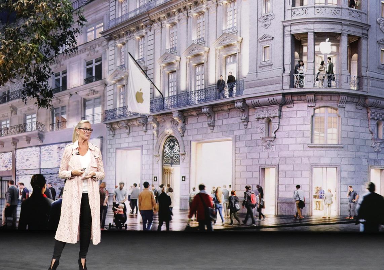 Angela Ahrendts falando sobre as Apple Stores